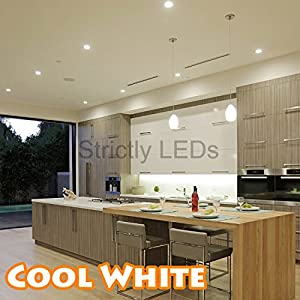 Brushed Chrome 9 Watt LED Ceiling Light / 9W Recessed Downlight in Cool White, 50W - 60W Halogen Replacements, Complete Energy Saving LED Downlighters / Ceiling Lights, Ideal for Kitchen Lighting, Bathroom Lighting, Offices & Workplaces by Discount LEDs