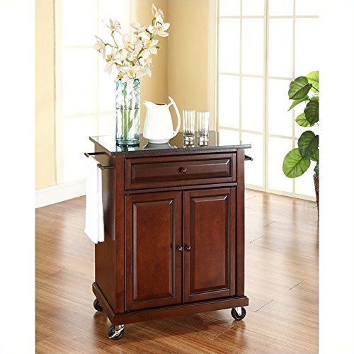 Crosley Furniture Solid Black Granite Top Portable Kitchen Cart/Island in Vintage Mahogany Finish (Portable Kitchen Cart Island compare prices)