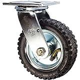 "6"" Black Pneumatic Tire Swivel Caster - 250 lbs Capacity"
