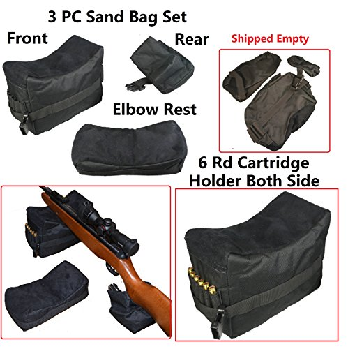 3 PC Set Bench Rest Stand Shooting Range Sand Bags Front, Rear and Elbow Rest, Black Color (3 Gun Range Bag compare prices)
