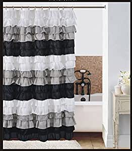 Waterfall White Gray And Black Ruffled Shower Curtain