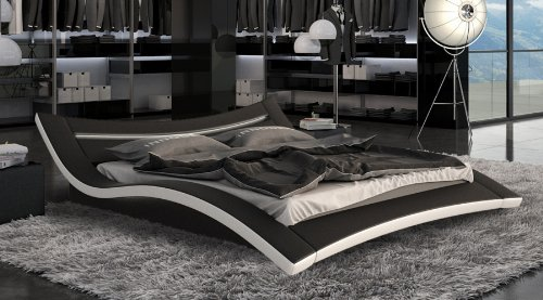 SAM-Polster-Bett-Seducce-LED-140-x-200-cm-in-schwarz-wei-auergewhnliches-Designbett-geschwungene-Seite-Lichtleiste-am-Kopfteil-Lieferung-per-Spedition-Artikel-teilzerlegt