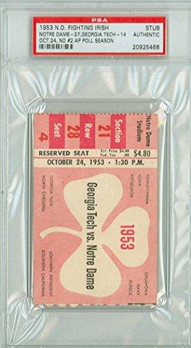 1953 Notre Dame Fighting Irish College Football Ticket Stub vs Georgia Tech - Oct 24, 1953 [Grades Excellent] (Georgia Football Tickets compare prices)