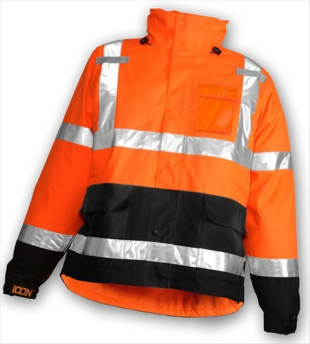 "ICON J24129.MD Mesh/Taffeta Lining Jacket with 2"" Silver Reflective Tape, Medium, Flourescent Orange/Red/Black"