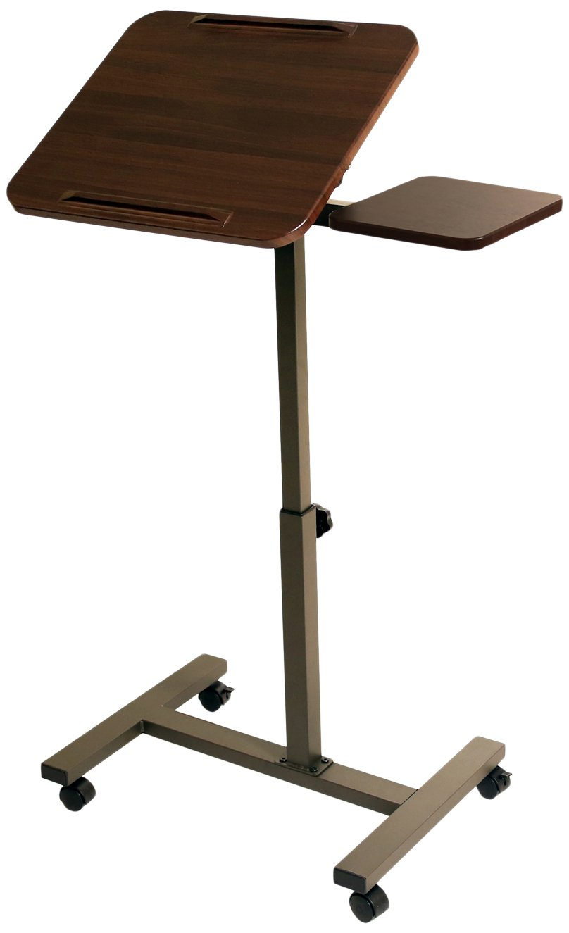Seville Classics Mobile Laptop Desk Cart With Side Table