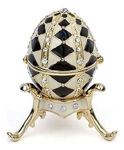 Pricegems Gold Plated Ladies Swarovski Crystal 'Harlequin Pattern' Black and White Enamel Faberge Style Egg Hinged Trinket Box