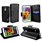 myLife Smooth Onyx Black - Classic Design - Koskin Faux Leather (Card, Cash and ID Holder + Magnetic Detachable Closing) Slim Wallet for NEW Galaxy S5 (5G) Smartphone by Samsung (External Rugged Synthetic Leather With Magnetic Clip + Internal Secure Snap In Hard Rubberized Bumper Holder)