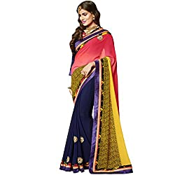 Vasu Saree Baronial Georgette Navy Blue Designer Saree