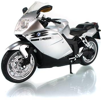 BMW K1200S foudre modele de moto en alliage jouets Vehicule Miniature Echelle 1/12 argent