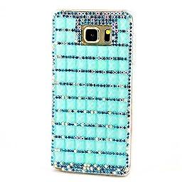 Samsung Galaxy S7 Edge Case, Sense-TE Luxurious Crystal 3D Handmade Sparkle Diamond Rhinestone Clear Cover with Retro Bowknot Anti Dust Plug - Classic Lattice / Bling Blue
