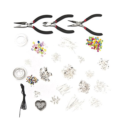 1000 Piece Deluxe Large Jewellery Making Starter Kit - Pliers, Findings, Beads, Cord, Tiger Tail, Silver Plated Accessories Plus Free Jewellery Making E-book!bytm By Kurtzy