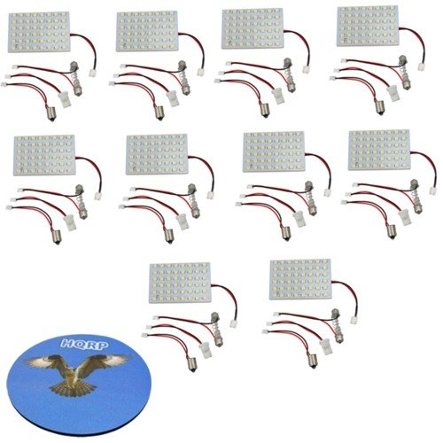 Hqrp 10-Pack 48 Leds Smd 3528 Led Panel T10 / Ba9S / Festoon Rv Interior, Ceiling, Porch Lights Bulbs Lamps Cool White Plus Hqrp Coaster