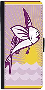 Snoogg Flying Fish At Sea Ocean Square Retrodesigner Protective Flip Case Cov...