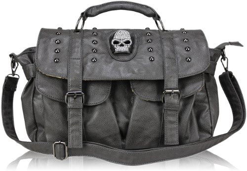 Womens Grey Skull Studs Designer Shoulder Handbag KCMODE