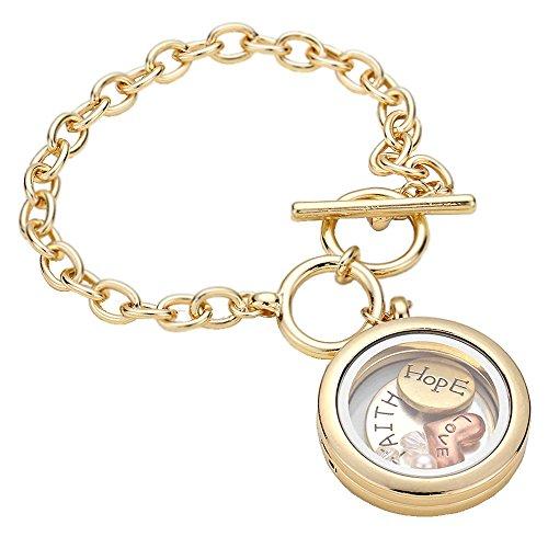 Gold Tone Inspirational Floating Open Locket Toggle Bracelet