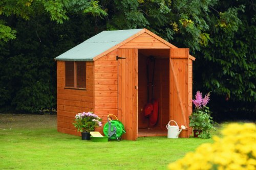 7' x 7' Wooden Garden Shed Double Doors Apex Roof Shiplap Wood 10 Year Anti Rot Guarantee