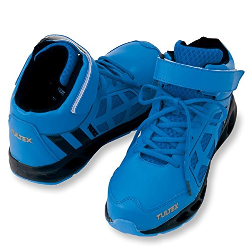 タルテックス(TULTEX)安全スニーカー 安全靴 鋼製先芯 ミドルカット メッシュ・ひも az-51637ブルー25.5