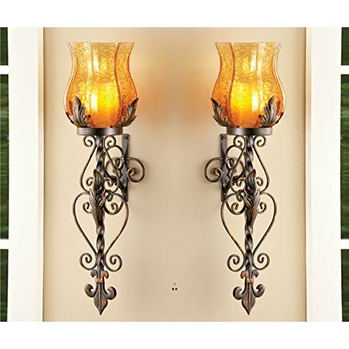 Set of 2 Bronze Elegant Scrollwork Decorative Hurricane Amber Glass Candle Holder Sconce Metal Vintage Style Decorative Home Accent Decoration