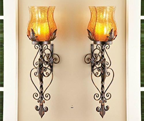 Elegant Wall Sconces For Candles : Set of 2 Bronze Elegant Scrollwork Decorative Hurricane Amber Glass Candle Holder Sconce Metal ...