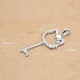 Onairmall Sterling Silver Cartoon Series Lovely Kitty Key Pendant Necklace, Box Chain 18\