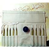 Arabic Calligraphy Set 10 Reed Pens with Plastic Ink (Black) Jar