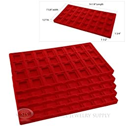 5 Red Insert Tray Liners W/ 32 Compartments Earrings Organizer Jewelry Display