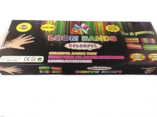 LOOM BAND JEWELRY KIT: Make Rainbow Band Jewelry 600 PIECE Loom & Accessories. RAINBOW Color Bands That Work With All Major Name Bands. Latex Free Bands, Loom Board & Loom Tool Included. - 1