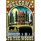 Welcome to the Woods Primitive House Flag Jeremiah Junction Yard Banner