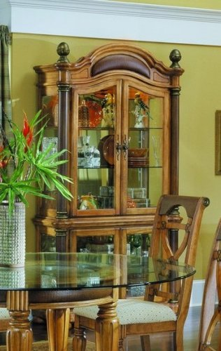 Image of Sahara Collection Hardwood Curio China Cabinet w/Lights (VF_HE780-11)