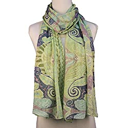 Vozaf Women's Silk Stoles & Scarves - Green &Blue