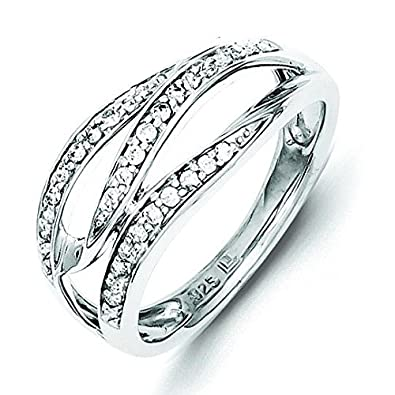 Sterling Silver Diamond Fashion Ring - Ring Size Options Range: L to P