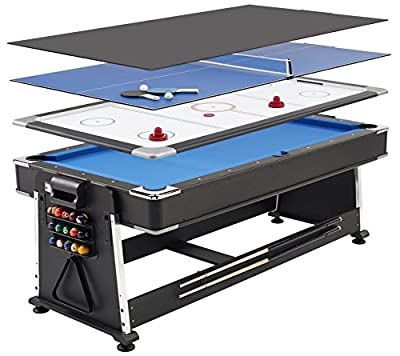 Mightymast Revolver 3-in-1 Pool/Air Hockey/Table Tennis Table - Black, 7 ft from Mightymast