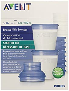 Philips Avent BPA Free Breast Milk Storage Starter Set, Clear, 6 Ounce, 10 Count