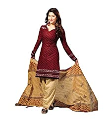 Janasya Women's Brown Polyester Printed Unstiched Dress Material (DR-013-Printed)
