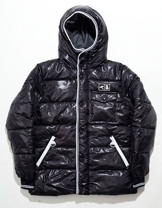 Nickelson Mens Winter Wetlook Hoodie Jacket Coat - Black [X-Large]