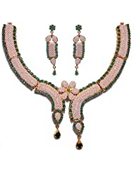 Gehna Pearl & Emerald Stone Studded Necklace Set Made In Silver Alloyed Metal