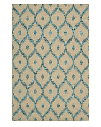 Nourison Spectrum Rug, Beige Turquoise, 2' 6 x 4'
