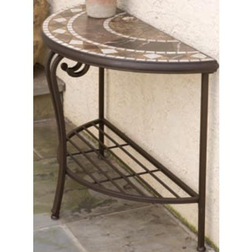 Buy low price 33 tiled mosaic half moon console accent for Half moon console table