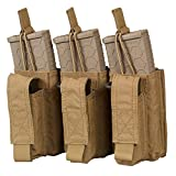 Chase Tactical Triple Kangaroo 5.56 Pistol Mag Pouch - Holds Three 5.56mm x 45 mm M4 Metal, Polymer Mags - Bungee Retention, Velcro Lid - for Military, Law Enforcement, Combat Training, Coyote Tan (Color: Coyote Tan, Tamaño: Triple)