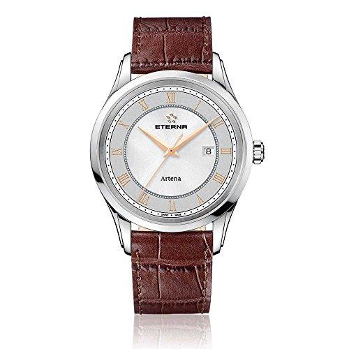 Eterna 2520.41.56.1259 Montre bracelet Homme, Cuir, couleur: marron