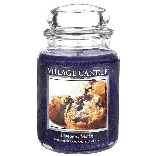 Village Candle Bougie moyenne parfumée Muffin aux myrtille Jusqu'à 170 heures de combustion 14 x 10 cm 1219g