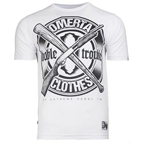Extreme Hobby. Omerta Doppio Trouble Maglietta Hardcore Abbigliamento Scolastico Durata & Rivalità. Mafia. Gun Teppista T-shirt - Bianco, X-Large