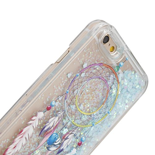 """IKASEFU Funny Novelty[Flowing Glitter Blue Hearts]Colorful Dreamcatcher Hard Bling Shiny Clear Liquid Plastic Case Cover for iPhone 6 Plus/6S Plus 5.5""""-Hearts,Colorful Dreamcatcher"""