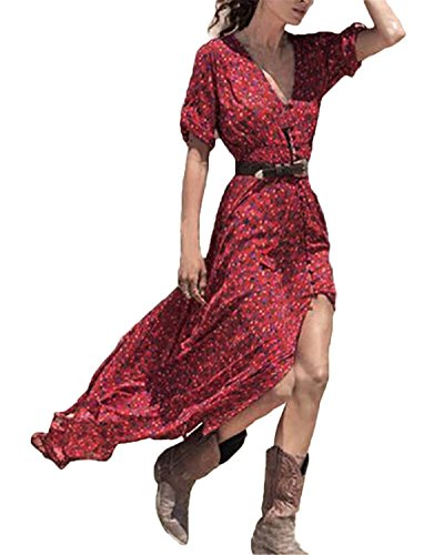 ZANZEA Sexy Donna V-Neck Floral Printed Vestiti Split Tunic Beach Long Maxi Abiti Rosso IT 42/ASIA L