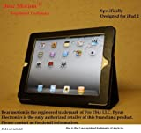 Bear Motion (TM) 100% Genuine Leather Case for iPad 2 2nd Generation Folio with 3-in-1 built-in Stand for Apple iPad 2 (Latest Generation) Tablet (Black)