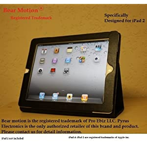 Bear Motion Leather Case  Folio with 3-in-1 built-in Stand for iPad 2 - Black