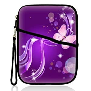 """Neoprene Super Padded Bubble Sleeve Case Cover with Extra Pocket for Accessories & Removable Carrying Handle Fits Apple iPad Mini / Amazon Kindle Fire HD / Google Nexus 7 / Samsung Galaxy / Asus / Acer / Archos and Similar Size 7"""" Tablet - Purple Butterfl"""