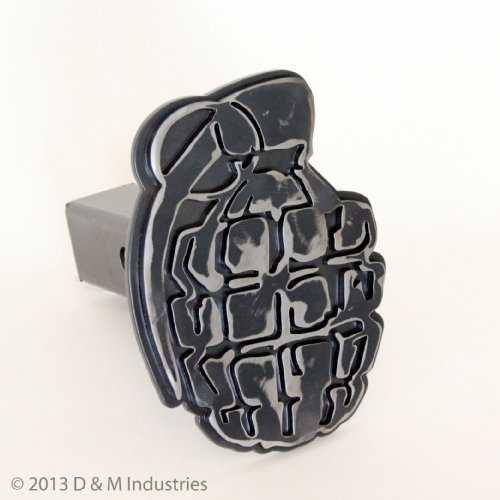 "Pineapple Grenade Precision Cut Steel Hitch Cover - 8""Tall! Clear Powdercoated"