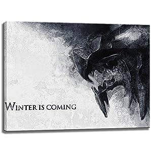 Winter Is Coming, Game of Thrones Motiv auf Leinwand im Format: 80x60 cm. Hochwertiger Kunstdruck als Wandbild. Billiger als ein Ölbild! ACHTUNG KEIN Poster oder Plakat!