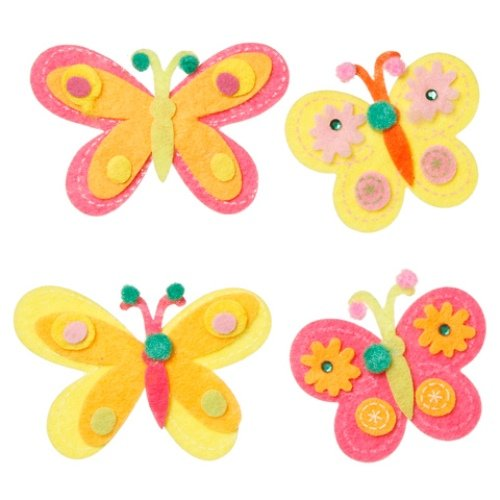 WeGlow International Felt Embellishment Neon Color Butterflies, Set of 8 - 1